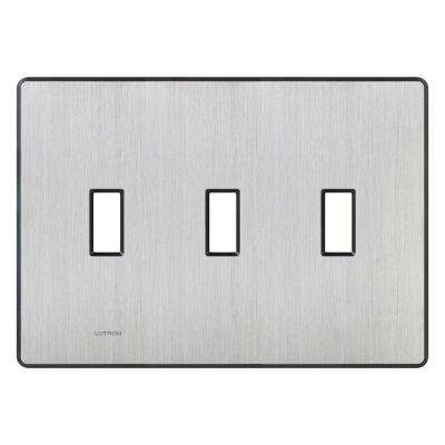 Fassada 3 Gang Wallplate for Toggle-Style Dimmers and Switches, Stainless Steel