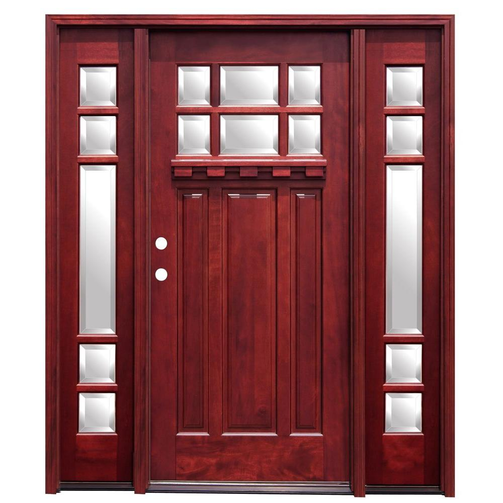 Pacific Entries 70in.x80in. Craftsman 6 Lt Stained Mahogany Wood Prehung Front Door w/Dentil Shelf 6in. Wall Series and 14in. Sidelites