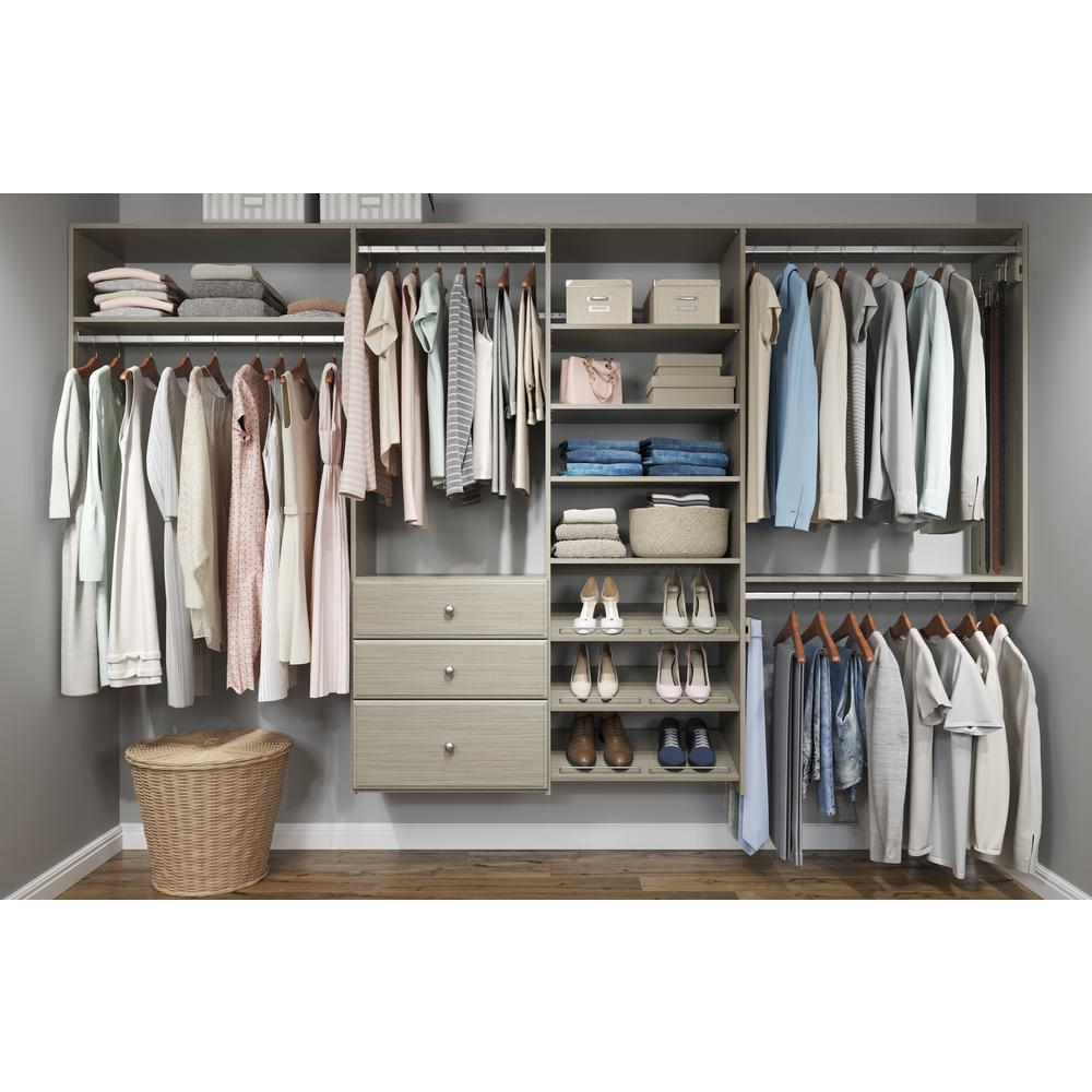 Closet Evolution Dual Tower 96 in. W - 120 in. W Rustic Grey Wood Closet System
