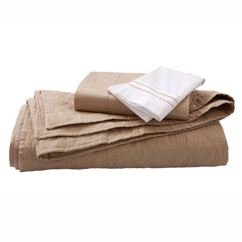 Home Decorators Collection Kenna Craft Brown Twin Quilt Set