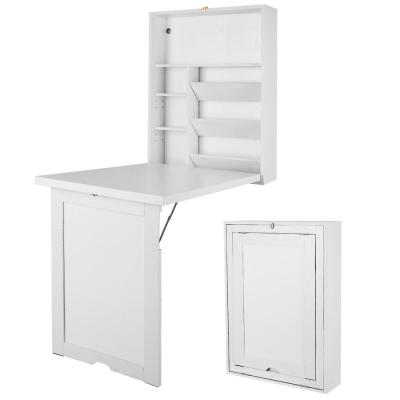 37.5 in. Rectangular White Floating Desks with Solid Wood Design