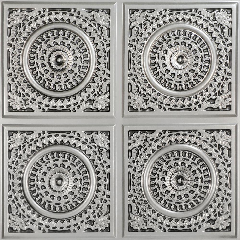 Grandma's Doilies Quartet 2 ft. x 2 ft. Glue Up PVC Ceiling Tile in Antique Silver (100 sq. ft./case)