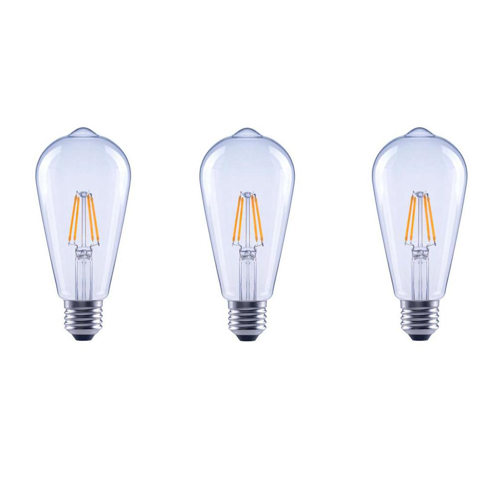 40-Watt Equivalent ST19 Clear Glass Vintage Decorative Edison Filament Dimmable LED Light Bulb Soft White (3-Pack)