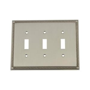 Nostalgic Warehouse Rope Switch Plate with Triple Toggle in Satin Nickel by Nostalgic Warehouse