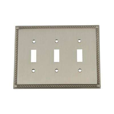 Rope Switch Plate with Triple Toggle in Satin Nickel