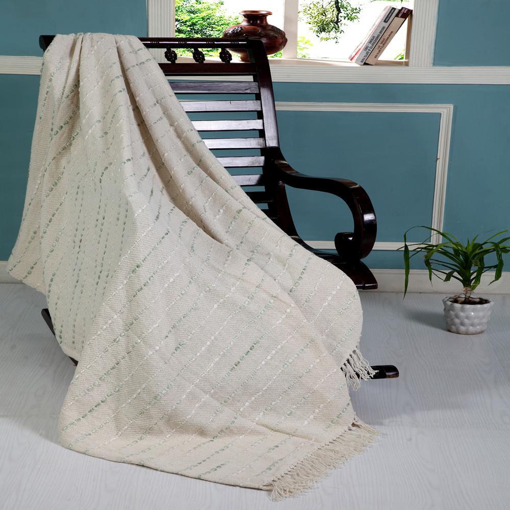 Stunning Seafoam 50 in. x 60 in. Green/Cream Decorative Throw Blanket