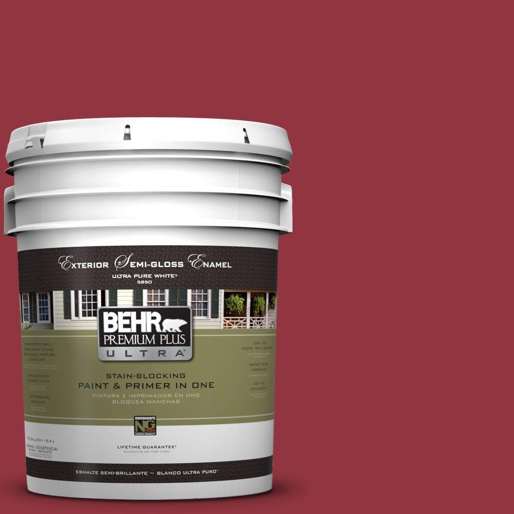BEHR Premium Plus Ultra 5-gal. #UL100-6 Red Velvet Semi-Gloss Enamel Exterior Paint