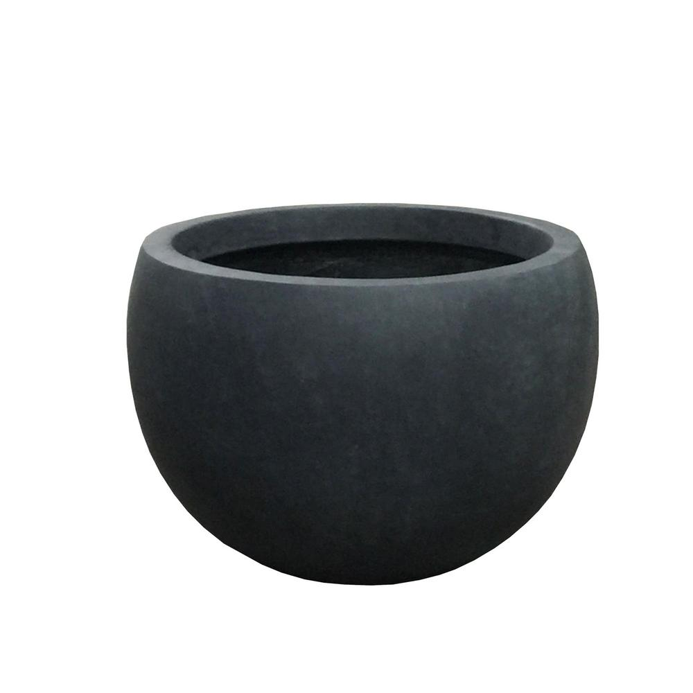 KANTE 13 in. Tall Charcoal Lightweight Concrete Round Outdoor Bowl Planter