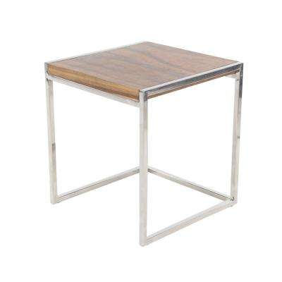 Brown Square End Table with Stainless Steel Frame
