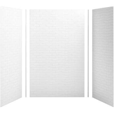 Choreograph 60 in. x 36 in. x 96 in. 5-Piece Alcove Shower Wall Surround in White with Brick Texture for 96 in. Showers