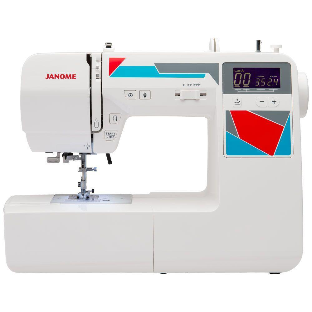 MOD-100Q Quilting and Sewing Machine with Bonus Quilting Accessories, White The Janome MOD-100Q computerized sewing machine is the perfect machine to tackle your next sewing or quilting project. The machine's cutting-edge technology ensure that projects are conquered with power, precision and confidence. Utilize the Janome MOD-100Q's sewing machine's built-in needle threader, presser foot lift, auto-declutch bobbin winder and 7mm stitch width. The backlit LCD screen with easy navigation buttons make choosing stitches a breeze. The Easy Convenience buttons are located right by the needle; you'll find a start/stop button for sewing without the foot control and a reverse button. There is also a locking stitch button and needle up/down button. Bonus Accessories Included: Extra-Wide Extension Table for managing large projects like quilts. Hard Cover keeps your machine free of dust. The Even Feed Foot is perfect for sewing heavy layers and pattern matching. The Quarter Inch Foot is perfect for quilt piecing. The Stippling & Free Motion Foot is used when quilting the final layers of the quilt together. Quilt your project using traditional stippling or make it modern with your own unique free motion sewing. The Satin Stitch Foot is a must-have for stitching dense stitches like bead, scallop, floral and Greek key stitches. The Quilting Guide Bar provides you with a guideline so you can ensure even, parallel stitching lines. Color: White.