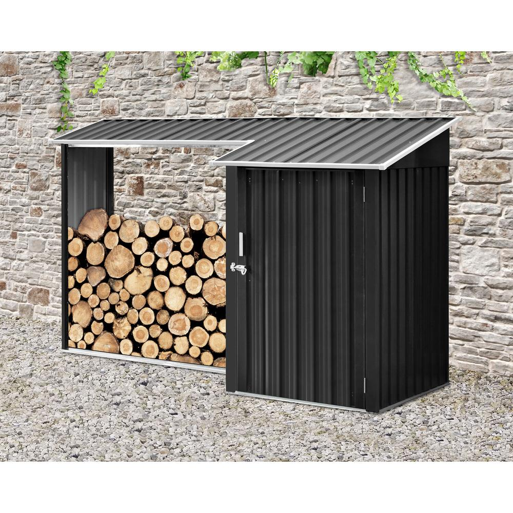 Hanover 5.2 ft. x 8.8 ft. x 5.3 ft. 2-in-1 Galvanized Steel Multi-Use Shed
