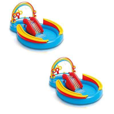 76 in. x 53 in. Deep Inflatable Kids Pool, Water Play Center with Slide (2-Pack)