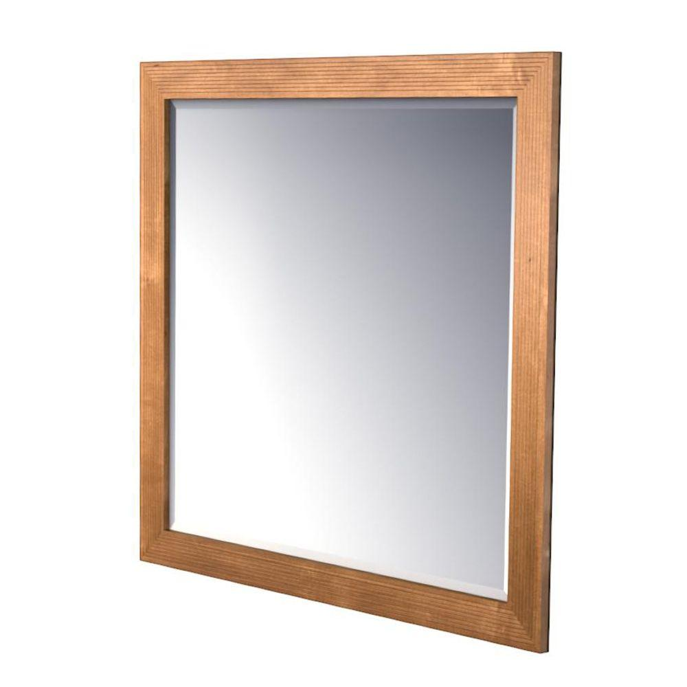 KraftMaid 42x36 in. Framed Wall Mirror in Praline Stain