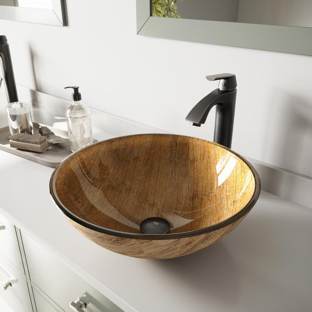 Vigo Glass Vessel Sink In Amber Sunset And Linus Faucet