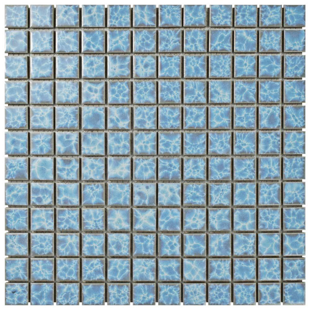 Merola Tile Watersplash Square Alboran 11-3/4 in. x 11-3/4 in. x 6 mm Porcelain Mosaic Tile, Light Blue/High Sheen