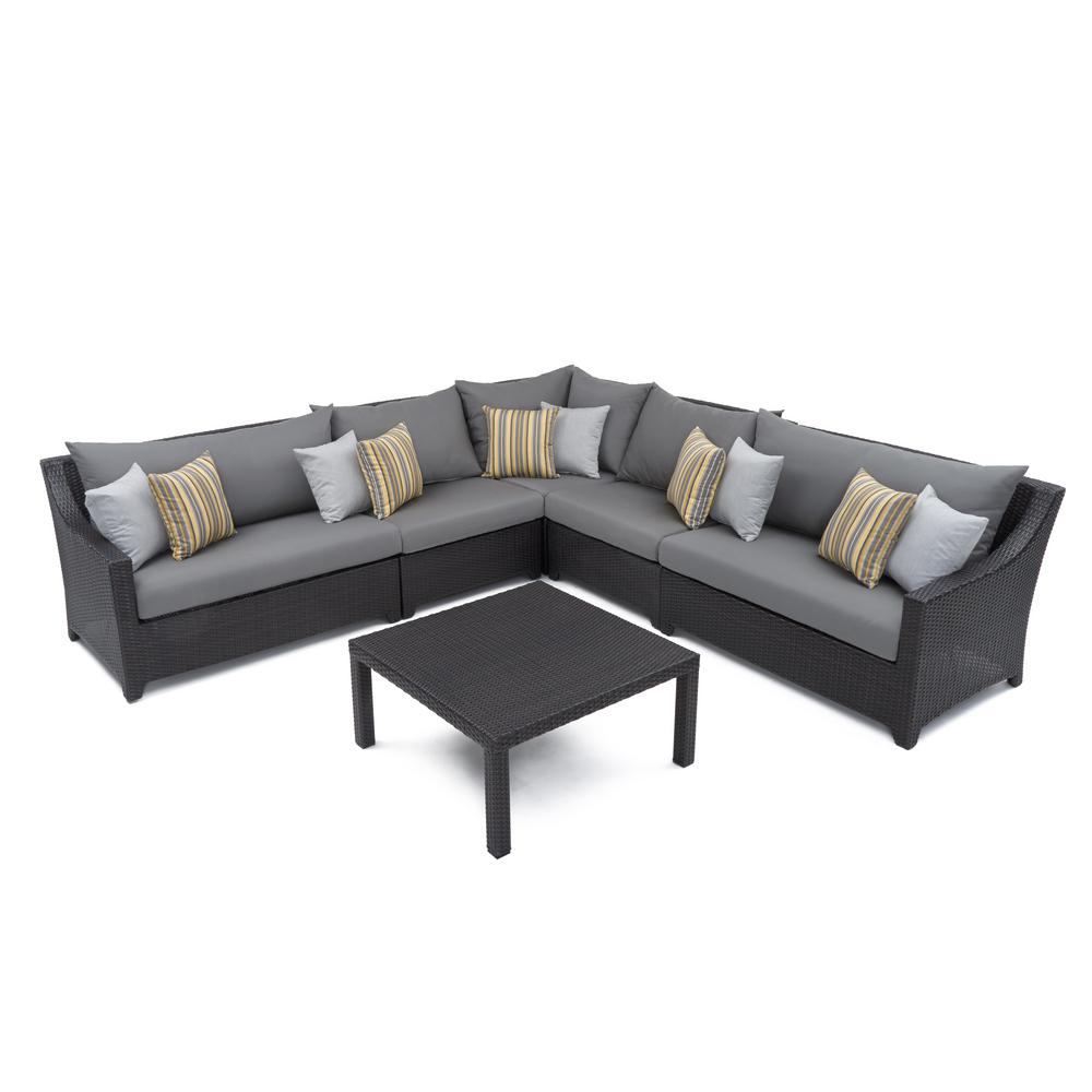 Deco 6-Piece Wicker Patio Sectional Seating Set with Charcoal Grey Cushions