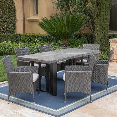 Taylor Grey 7-Piece Polyethylene Wicker Outdoor Dining Set with Silver Cushions
