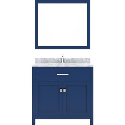 Virtu USA Caroline 36 in. W Bath Vanity in Blue with Marble Vanity Top in White with White Basin and Mirror