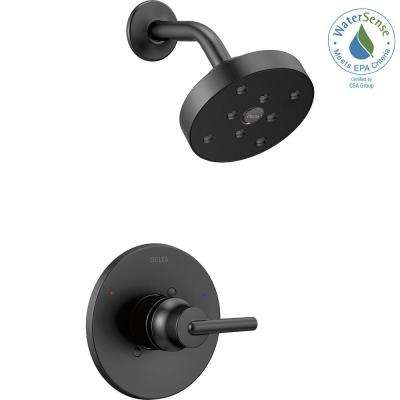 Trinsic 1-Handle Wall Mount Shower Faucet Trim Kit in Matte Black with H2Okinetic (Valve Not Included)
