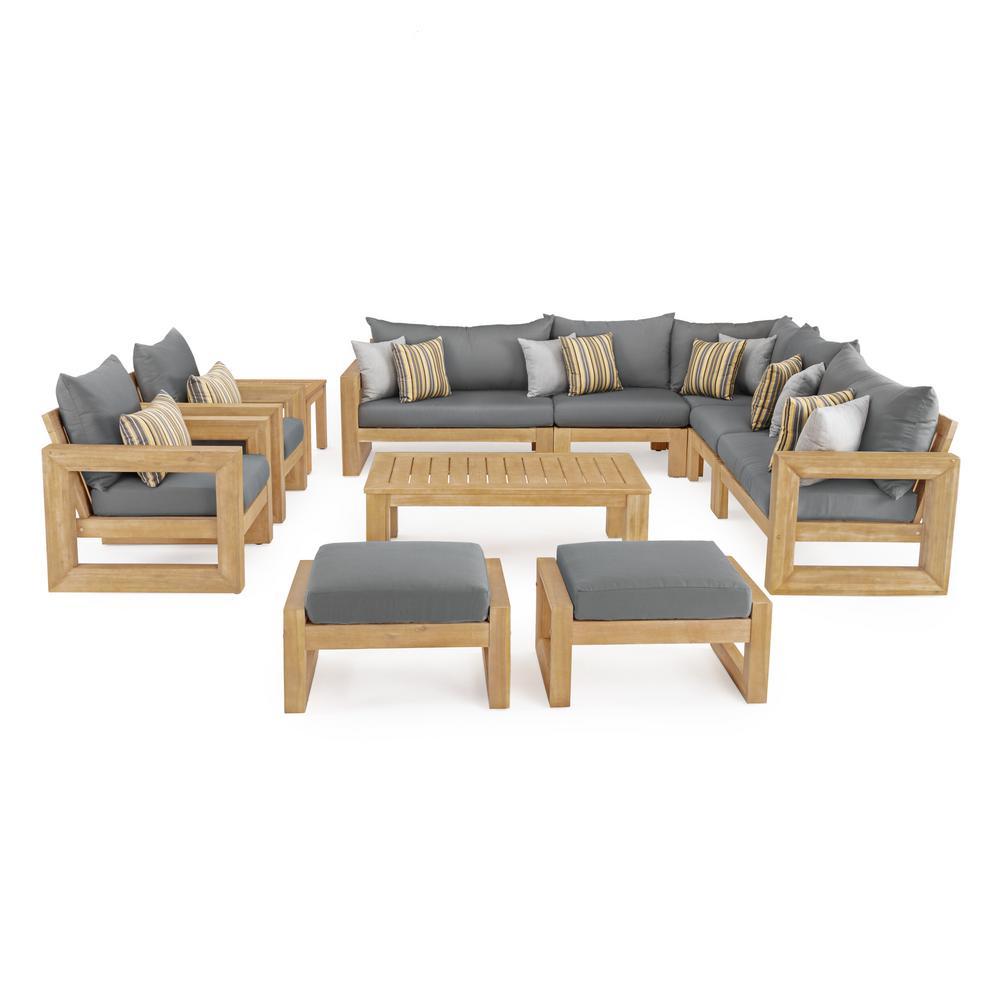 RST Brands Benson 11-Piece Wood Patio Conversation Set with Sunbrella Charcoal Grey Cushions