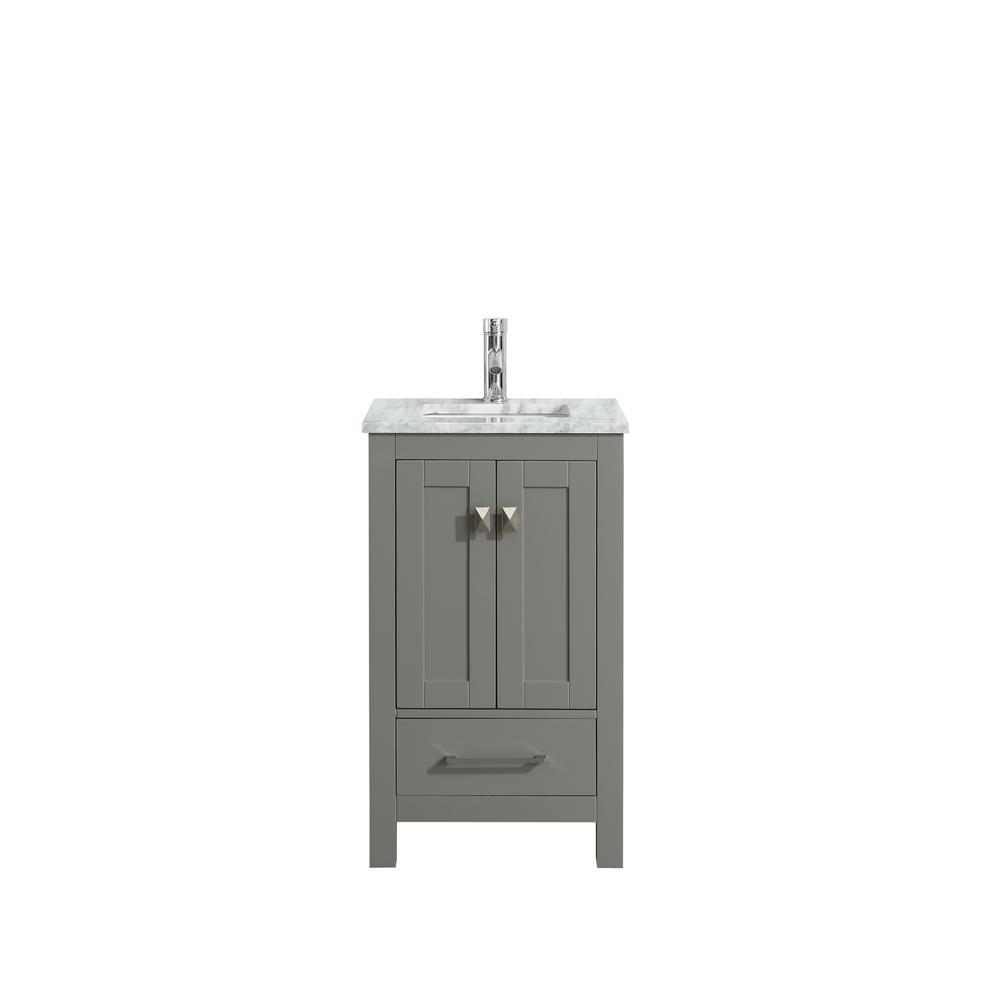 eb1209fb22d London 30 in. W x 18 in. D x 34 in. H Vanity in Grey with Carrera Marble Top  in White with White Basin