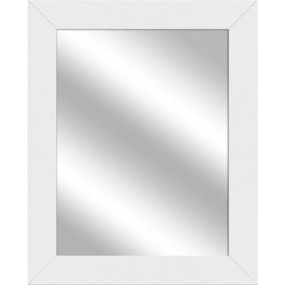 Medium Rectangle White Art Deco Mirror (31 in. H x 25 in. W)