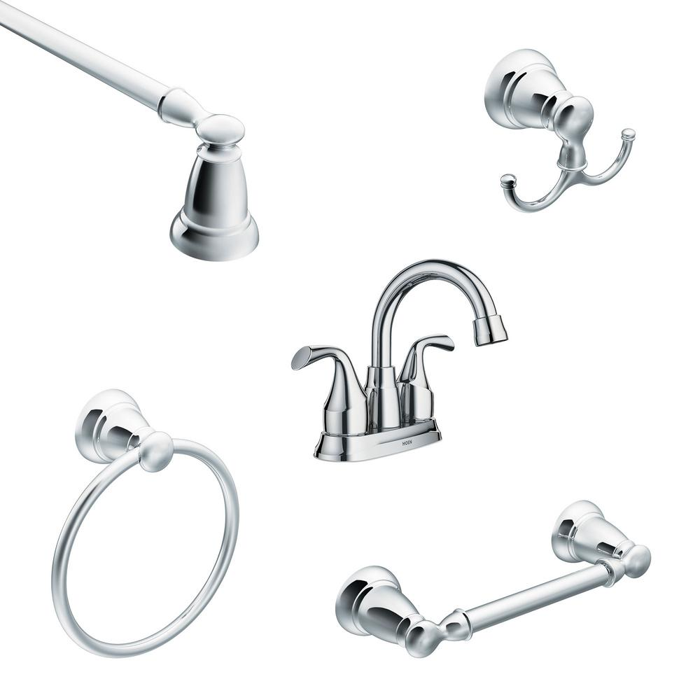 MOEN Idora 4 in. Centerset 2-Handle Bathroom Faucet with 4-Piece Bath Hardware Set in Chrome