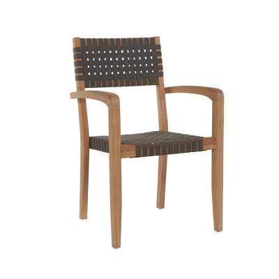 Herning Stackable Teak Outdoor Dining Armchair in Taupe (Set of 4)