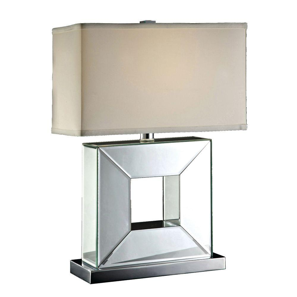 Absolute Decor 24.25 in. Chrome Metal Square Mirrored Table Lamp-DISCONTINUED
