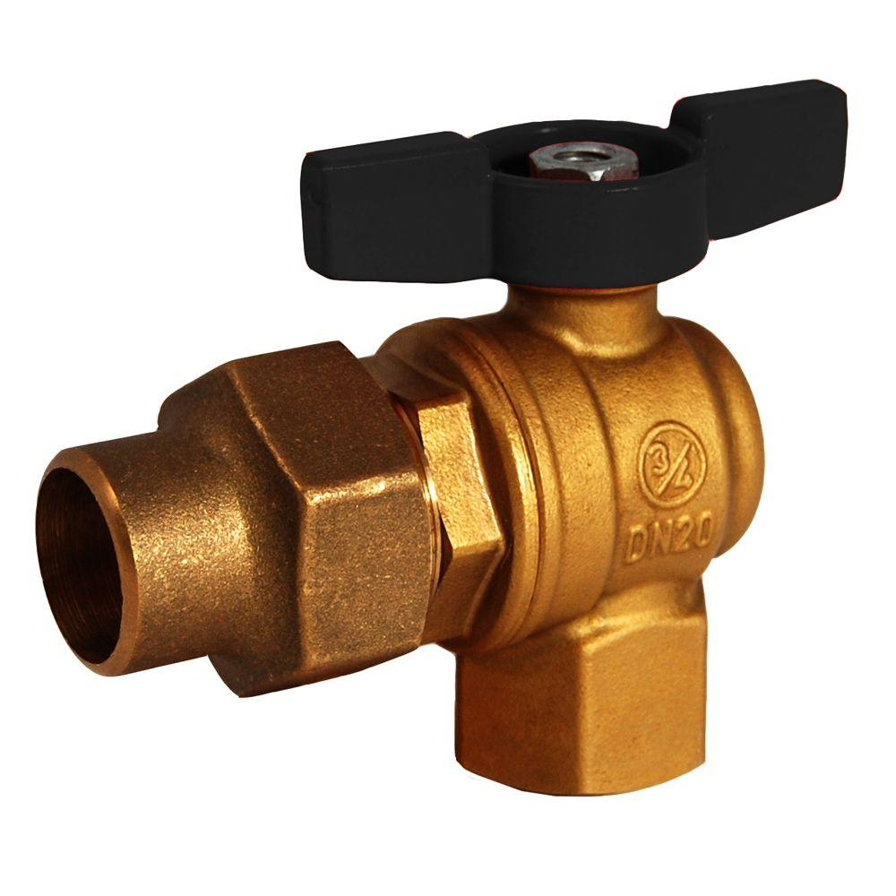 null 1 in. Brass FPT x Flare 1/4 Turn Meter Valve No Lead