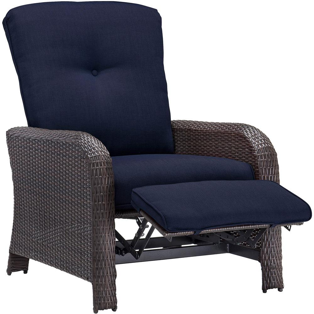 Corolla 1-Piece Wicker Outdoor Reclinging Patio Lounge Chair with Navy Cushions