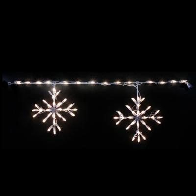 48 in. L 70-Count Pure White Christmas Roofline Decor LED Blizzard Artisticks (Set of 2)