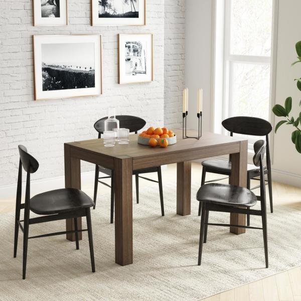 Nathan James Parson Dark Brown Sturdy Solid Wood And Antique Wire Brushed Rustic Modern Kitchen Or Dining Table 41101 The Home Depot