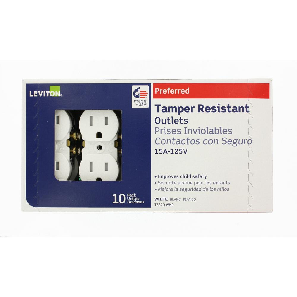 Leviton T5320 Duplex Receptacle Tamper-Resistant Residential Grade 5-15R 15A 125