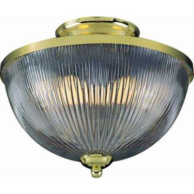 2-Light Polished Brass Semi-Flush Mount