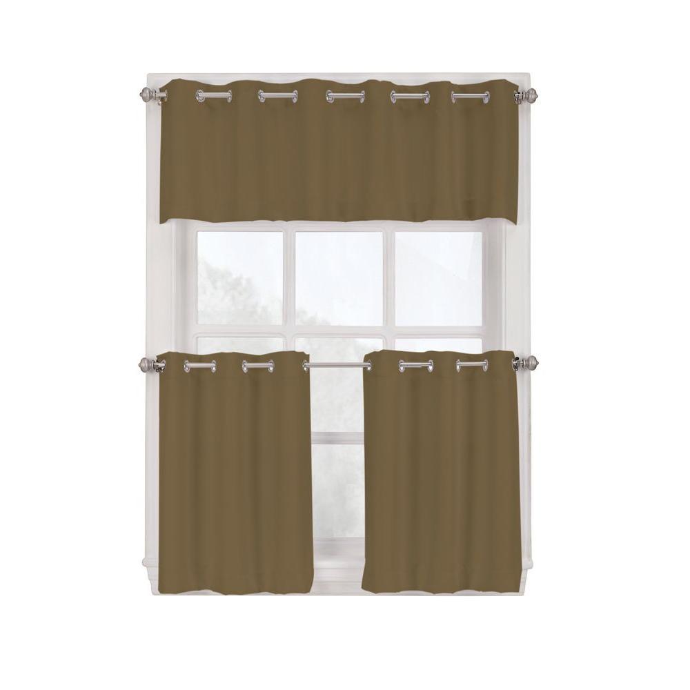 Grommet Kitchen Curtains: LICHTENBERG Semi-Opaque Mocha Montego Grommet Kitchen