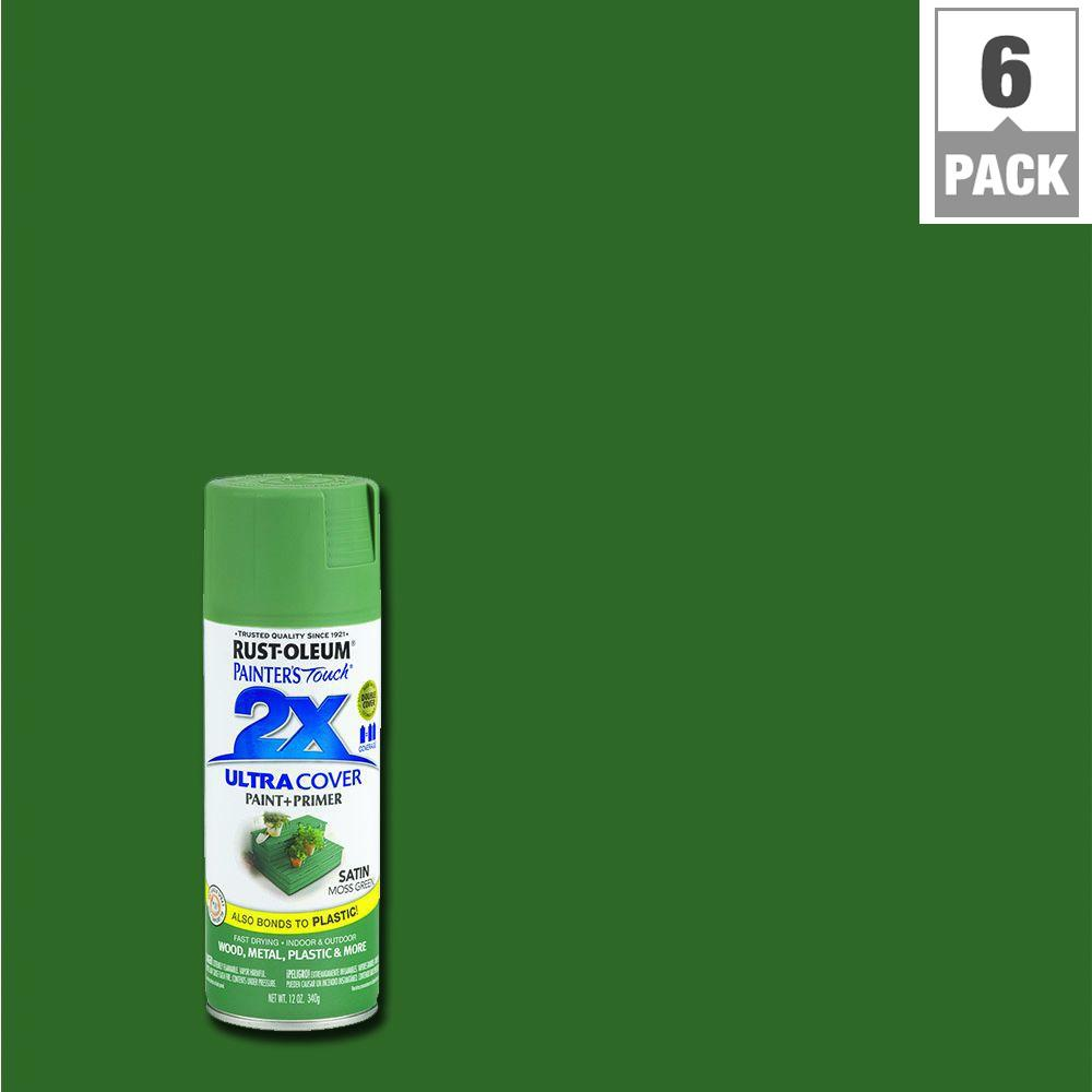 Rust Oleum Painter S Touch 2x 12 Oz Satin Moss Green General Purpose Spray Paint