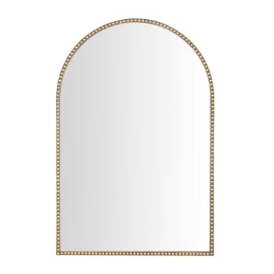 Medium Arched Gold Antiqued Classic Accent Mirror (35 in. H x 24 in. W)