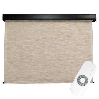 72 in. W x 96 in. L Surfside Premium PVC Fabric Exterior Roller Shade Motor/Remote Operated with Protective Valance