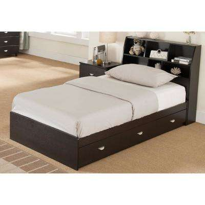 Dark Brown Twin Size Chest Bed with 3 Drawers
