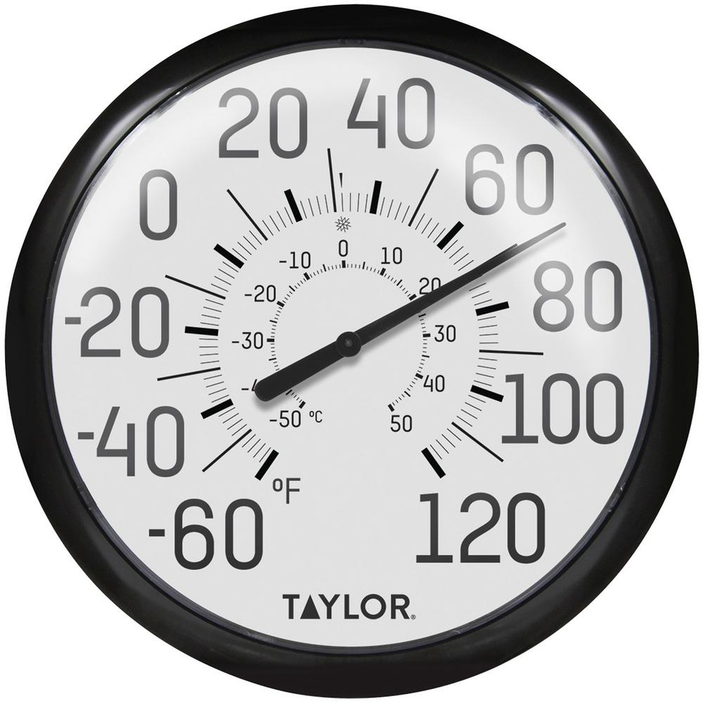 Taylor Precision Products Big And Bold Dial Outdoor Analog Thermometer 6700 The Home Depot