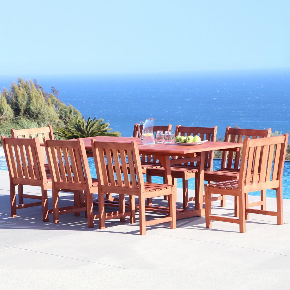Malibu 9-Piece Wood Rectangle Outdoor Dining Set