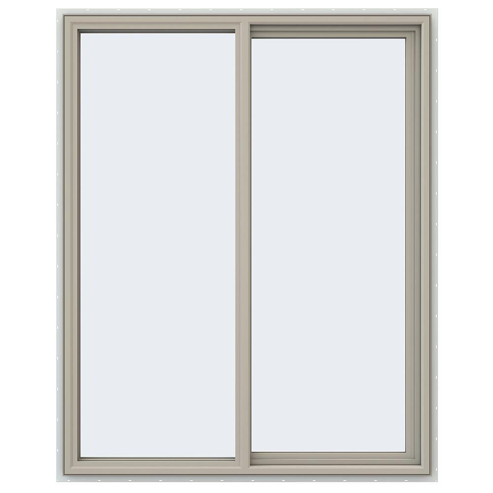 47.5 in. x 59.5 in. V-4500 Series Desert Sand Painted Vinyl Right-Handed Sliding Window with Fiberglass Mesh Screen