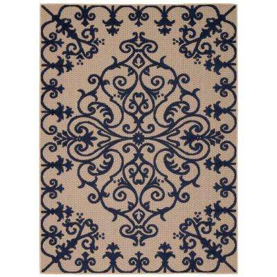 Aloha Navy 7 ft. 10 in. x 10 ft. 6 in. Indoor/Outdoor Area Rug