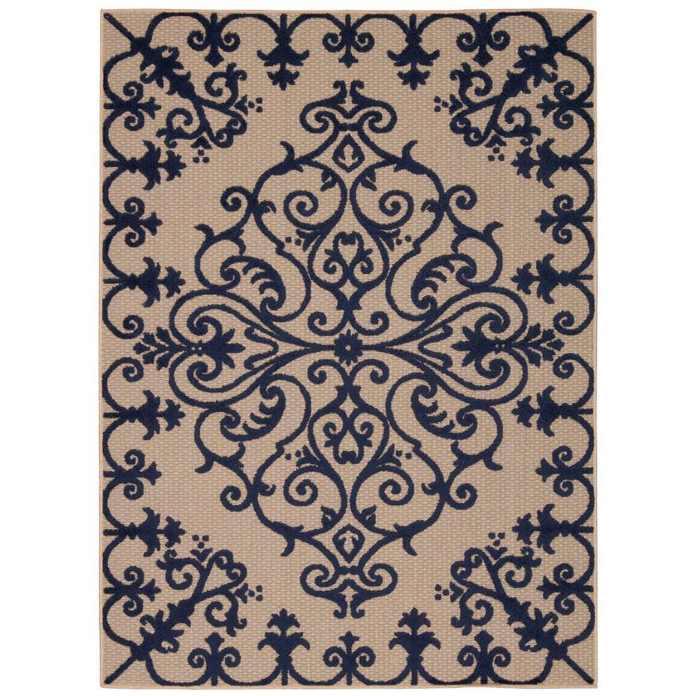 Aloha Navy 10 ft. x 13 ft. Indoor/Outdoor Area Rug