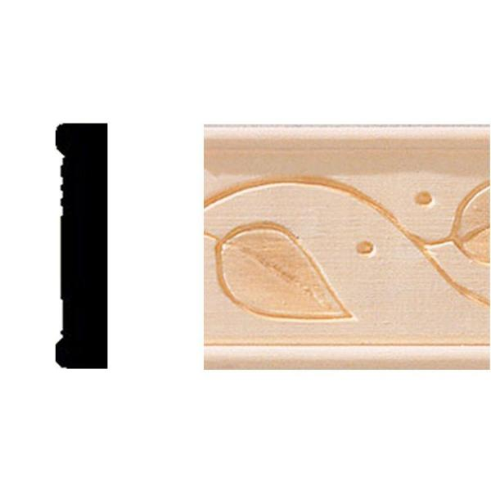 3/8 in. x 1-3/4 in. x 8 ft. Hardwood Embossed Vine Panel Moulding