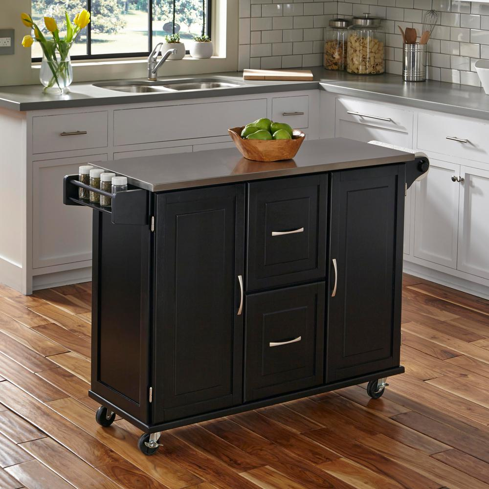 Kitchen Island With Stainless Steel Top | Black Rolling Kitchen Cart Black Stainless Steel Top Island