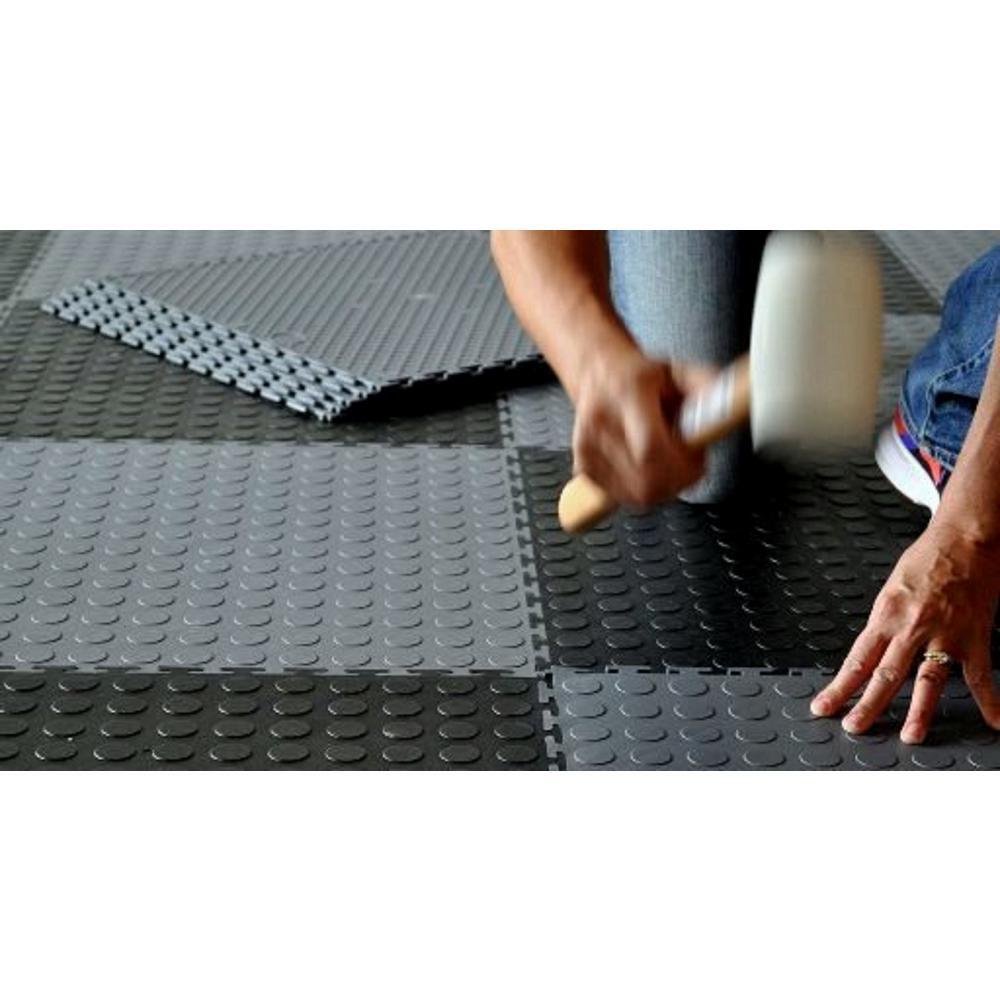 Coin 1.71 ft. Width x 1.71 ft. Length Black PVC Garage Flooring