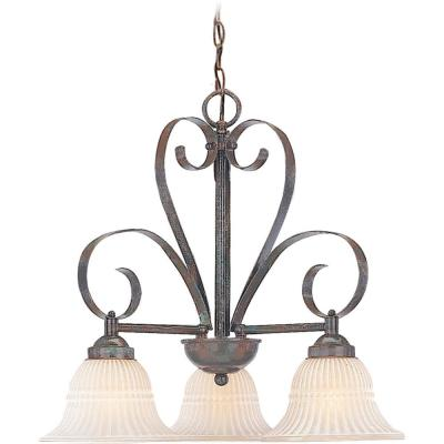 Florentia 3-Light Interior/Indoor Imperial Bronze Hanging Chandelier with Scavo Glass Bell Shades